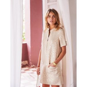 Sezane Zoe Dress Leopard Print Gold 34 FR 2 US